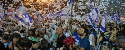 Israeler i Tel Aviv firar sin nya regering 13.6.2021