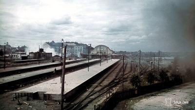Ratapihaa ja aseman raunioita. Viipuri 30.8.1941.