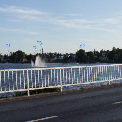 En illustration över hur vindkraftverken kan te sig sedda från stadsbron.