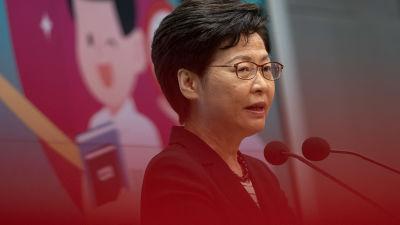 Hongkongin aluehallintojohtaja Carrie Lam kommentoi viimeaikaisia tapahtumia medialle 22. kesäkuuta 2021.