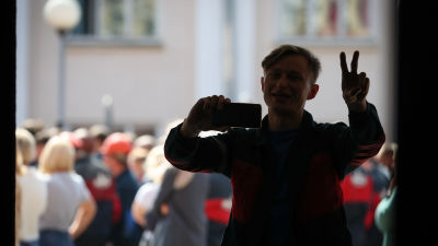 Demonstration vid en bilfabrik  i Minsk, Belarus 14.8.2020