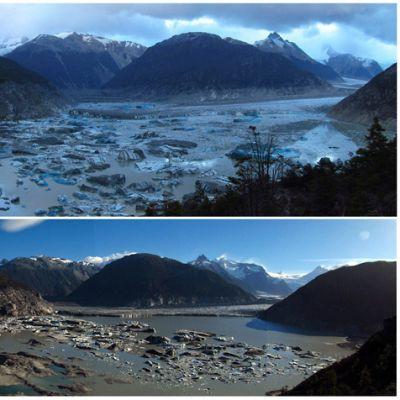 Kaksi kuvaa järvestä, jälkimmäisestä suurin osa vedestä on kadonnut.