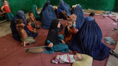 Interna flyktingar i Afghanistan efter talibansk offensiv. Distriktet Ghaziabad i provinsen Kunar 7.8.2021
