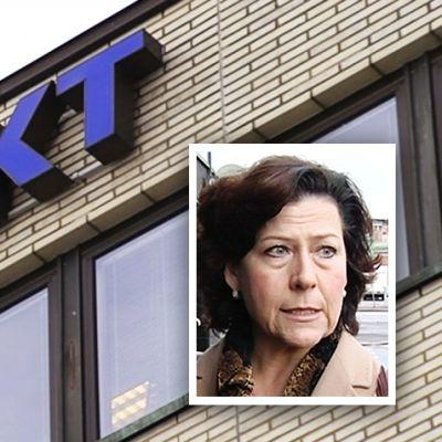 AKT:n logo rakennuksen seinässä ja Hilkka Ahde