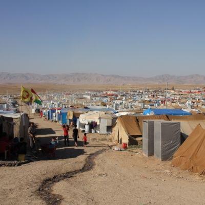 Flyktinglägret Domiz nära staden Duhok i Iraksika kurdistan