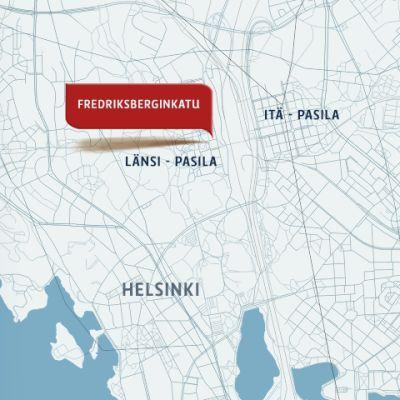 Kartta, johon merkitty Fredriksberginkatu.