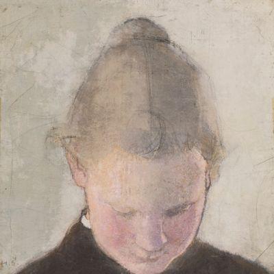 Kuva Helene Schjerfbeckin öljymaalauksesta Lukeva tyttö (1910-luku)