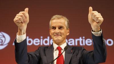 Det norska Arbeiderpartiets ledare Jonas Gahr Støre under valvakan efter kommunalvalet i september 2015.