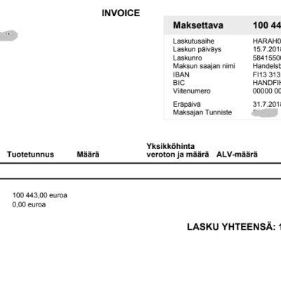 Virheellinen Handelsbankenin lasku.