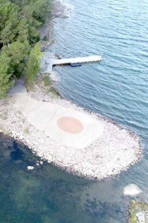 Helikopterplatta vid ön Säckilot.