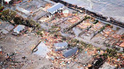 Förstörda hus nära Iwaki efter tsunamin i Japan 11.3.2011