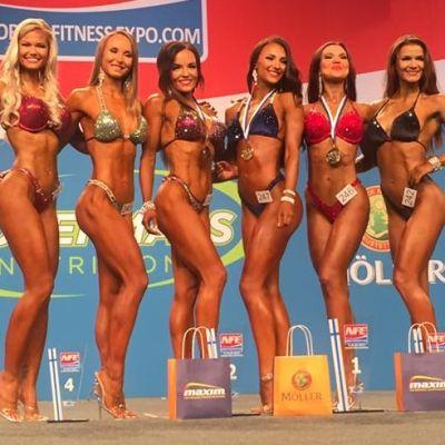 Bikini fitness SM -169cm tulokset: 1. Marietta Kiianlinna 2. Tuula Seilonen 3. Jenna Ukkonen 4. Emmi Juhala 5. Veera Louhelainen 6. Denise Rosas