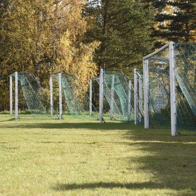 Sju fotbollsmål står på en gräsplan.