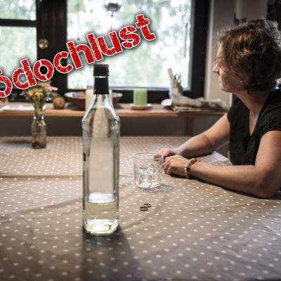 kvinna och flaska med inödouchlust-stämpel