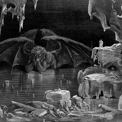 Danten Jumalaiseen näytelmään tehty kuvitus Saatanasta.