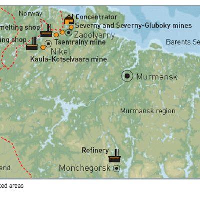 Norilsk-Nikel-konsernin toimipaikat Kuolan niemimaalla
