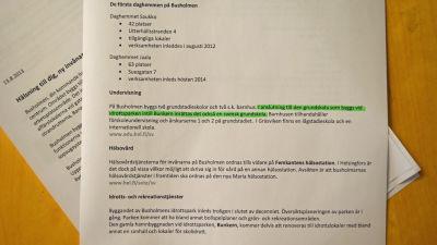 Invånarbrev som lovar lågstadieundervisning på Busholmen.