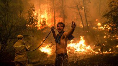 En person står och håller i en tom slang framför en skogsbrand.