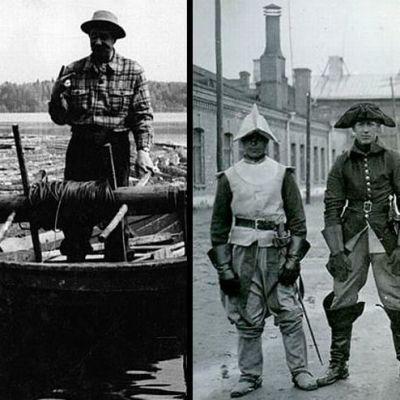 Kaksi mustavalkoista valokuvaa vanhoista kotimaisista elokuvista.