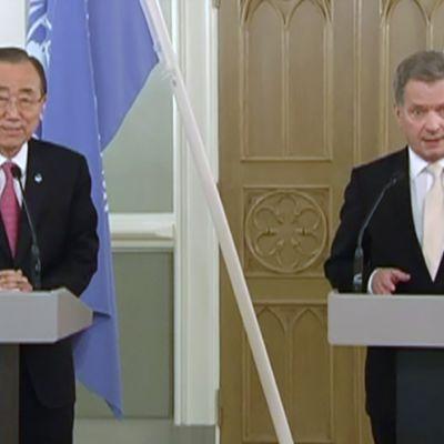 YK:n pääsihteerin Ban Ki-moon ja Presidentti Sauli Niinistö.