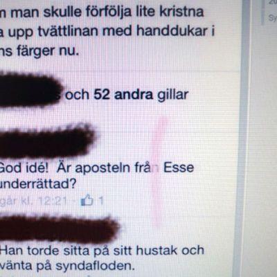 Toimittajan kirjoitus omalla Facebook-sivulla suututti osan Österbottens Tidning -lehden tilaajista.