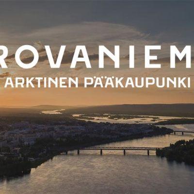Rovaniemen kaupungin slogan, taustalla jätkänkynttiläsilta ja Kemijoki