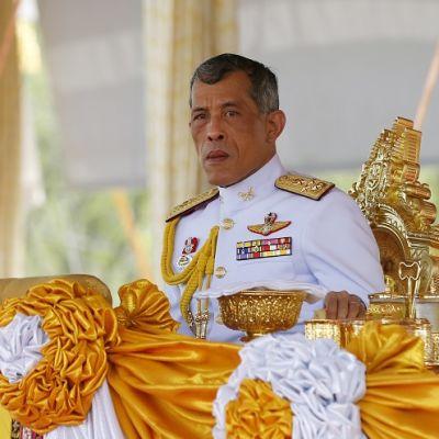 Valkoiseen sotilasunivormuun pukeutunut prinssi kullatulla istuimella, edessä isoja keltaisia kangasruusukkeita.