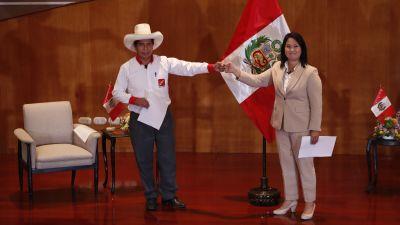 De peruanska presidentkandidaterna Pedro Castello och Keiko Fujimori.