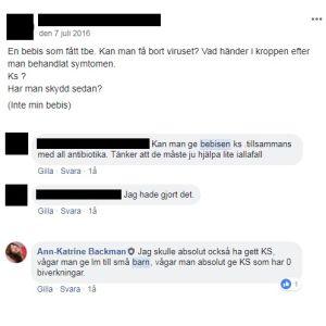 Facebook-diskussion om att ge kolloidalt silver till bebisar mot tbe.