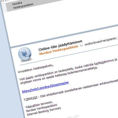 E-postmeddelande som skickats av bedragare