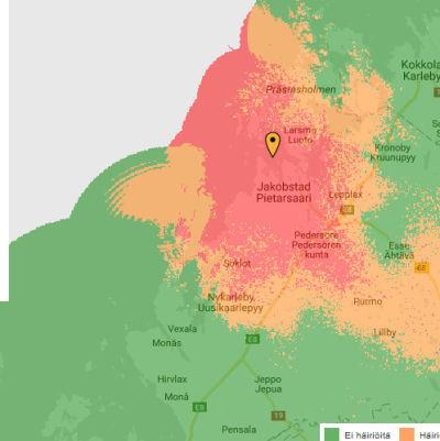 Avbrott i Soneras datanät. Skärmdump från Sonera webbplats