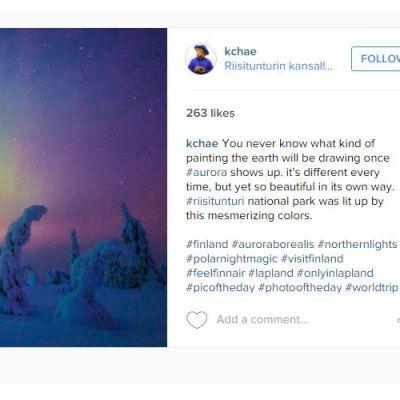 Korealainen valokuvaaja K. Chae ikuisti revontulet Posion Riisitunturilla.