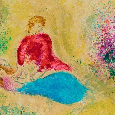 Marc Chagallin taidegrafiikkateos The Little Swallow sarjasta Daphnis & Chloè