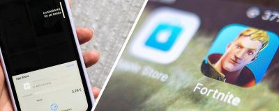 Collage av två bilder. Till vänster en hand som håller i en telefon där det görs ett köp i App Store. Till vänster syns appen Fortnite i en telefon.