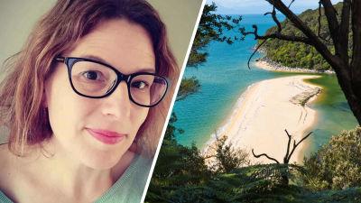 Bildcollage. Till vänster en selfie av Pia Rockell som tittar in i kameran. Till höger en strand på Nya Zeeland.