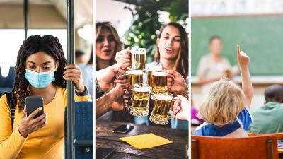 Collage av tre bilder. Till vänster en kvinna i munskydd som åker kollektivtrafik. I mitten två kvinnor som skålar på en restaurang och dricker öl. Till höger ett barn som markerar i en skolklass.