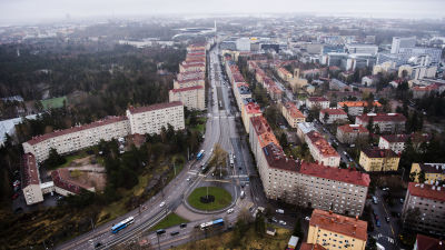 Flygfotografi av Mannerheimvägen i Helsingfors maj 2021.