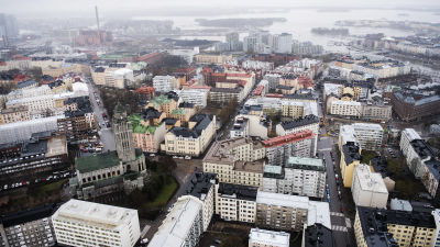 Ilmakuvassa on Helsingin Kallio toukokuussa 2021.