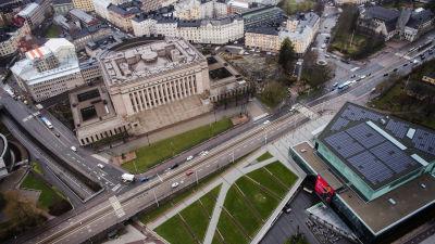 Flygfotografi av riksdagshuset maj 2021.