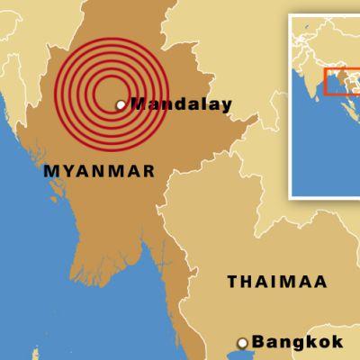 Myanmarin kartta, johon merkitty maanjäristyspaikka.