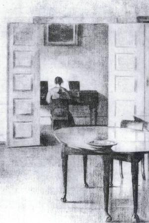 Hammershøi, Interiör, 1908, teckning, Den Hirschsprungske Samling, Köpenhamn