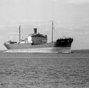 Rahtialus Haapasaaren edustalla vuonna 1964