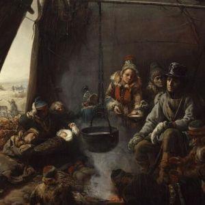 Biardin maalaus Nuori Orléansin prinssi Louis Philippe saamelaiskodassa 1795, valo lankeaa komsiossa nukkuvaan lapseen. (yksityiskohta)