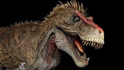 En illustration på en Tyrannosaurus – en stor köttätande dinosaurie.