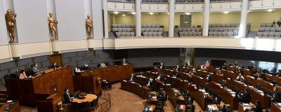 Riksdagens plenisal den 12 maj 2021.