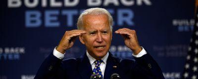 Joe Biden talar under ett kampanjmöte i Wilmington, Delaware.