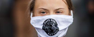 Greta Thunberg deltar i en klimatdemonstration i Stockholm den 25 september 2020.