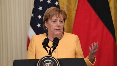 Angela Merkel under besöket i Vita huset och mötet med Joe Biden den 15 juli 2021.