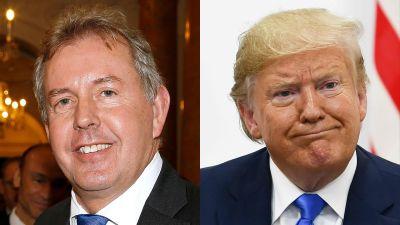 Storbritanniens USA-ambassadör Kim Darroch (till vänster) tvingades avgå efter att hans beskrivningar av Trump-administrationen läckte ut.