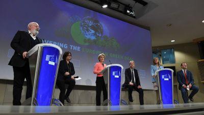 EU-kommissionen presenterade EU:s stora klimatpaket under en presskonferens den 14 juli 2021.